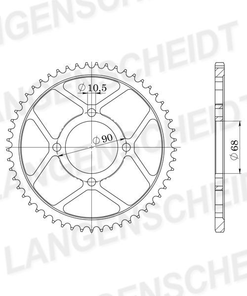 Stahl-Kettenrad Supersprox 428 - 45Z (schwarz)