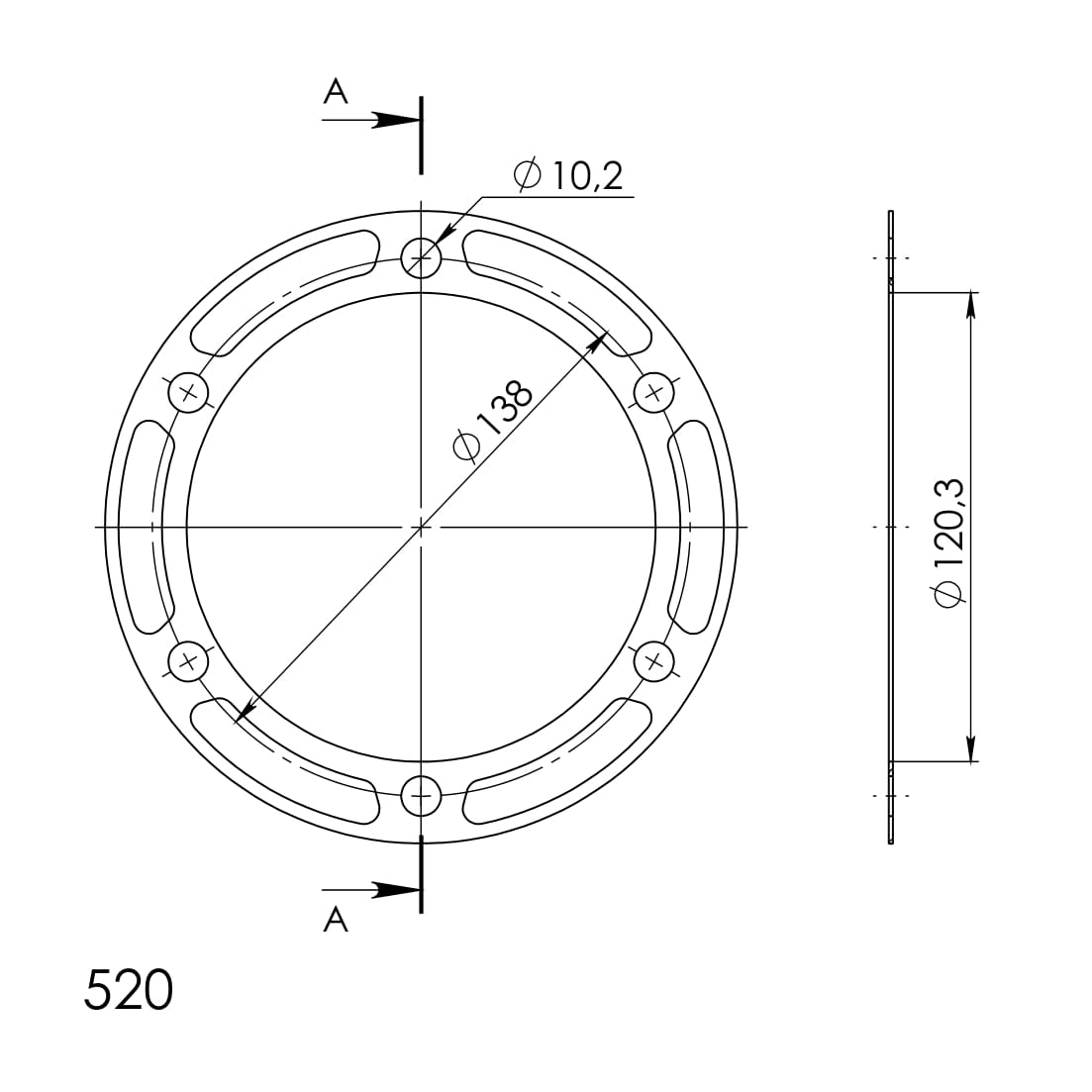 Edge-Disc Supersprox 520 - 36Z (rot)