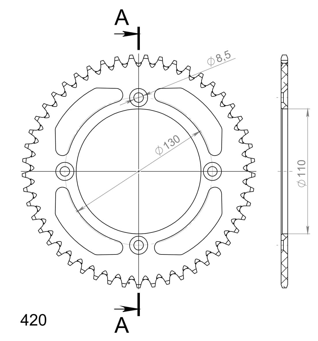 Alu-Kettenrad Supersprox 420 - 49Z (schwarz)