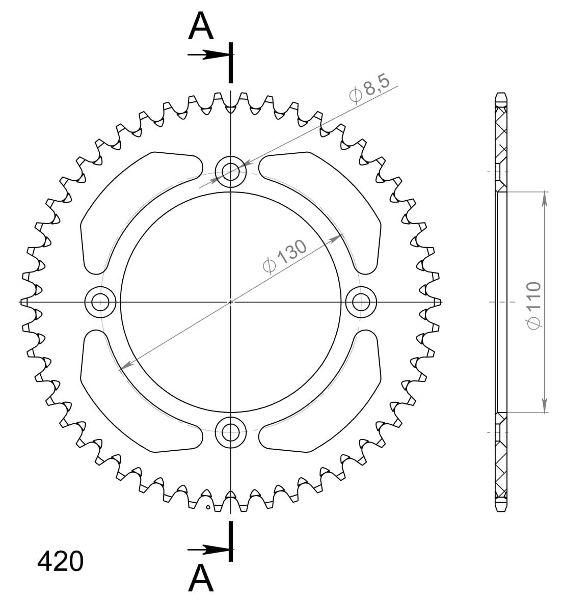Alu-Kettenrad Supersprox 420 - 50Z (schwarz)