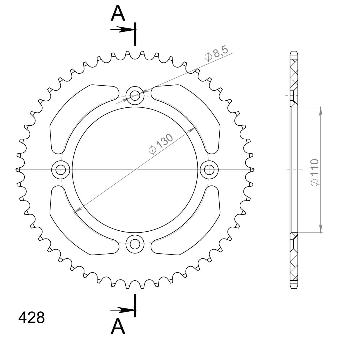 Alu-Kettenrad Supersprox 428 - 49Z (schwarz)
