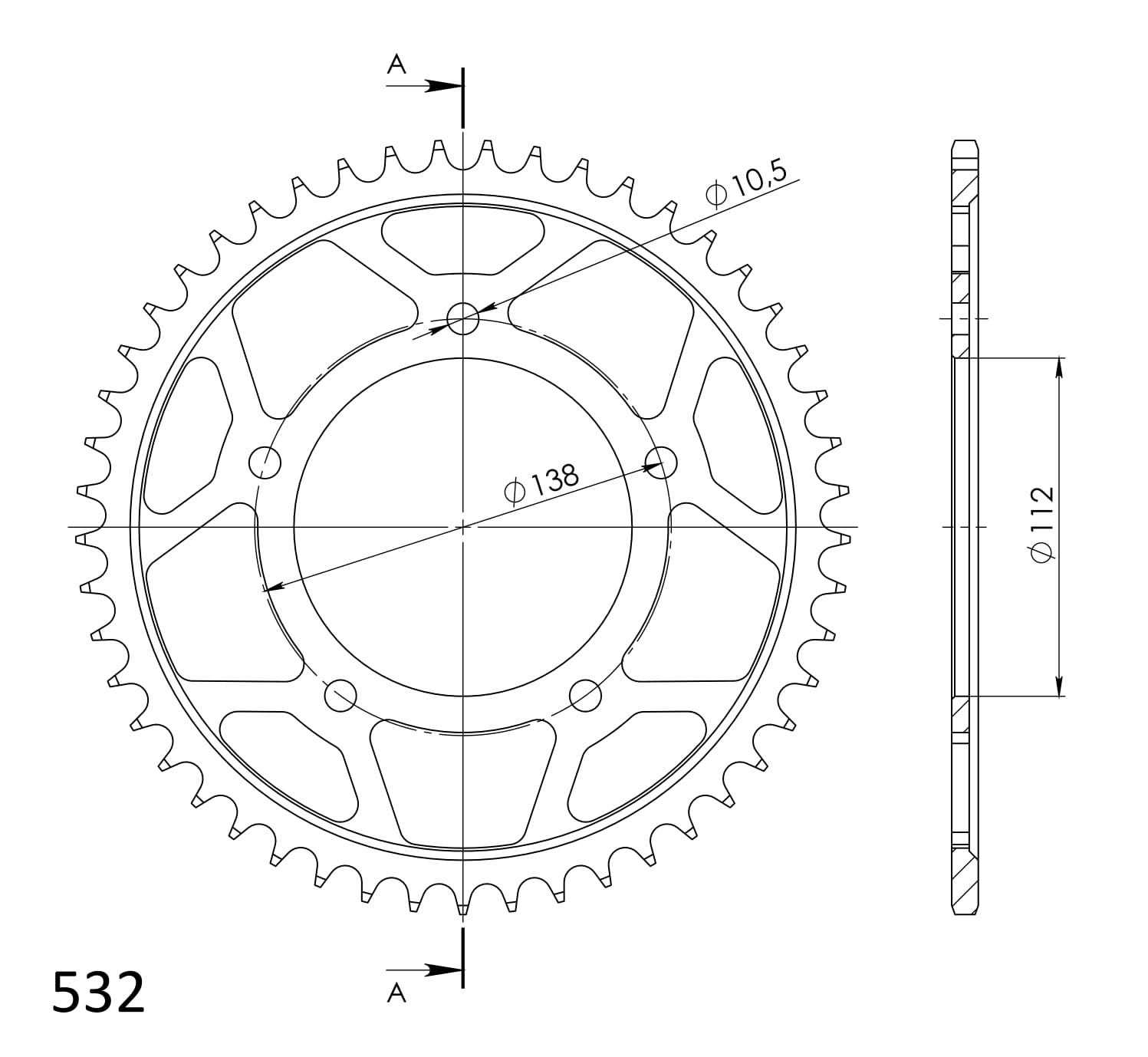 Stahl-Kettenrad Supersprox 532 - 49Z (schwarz)