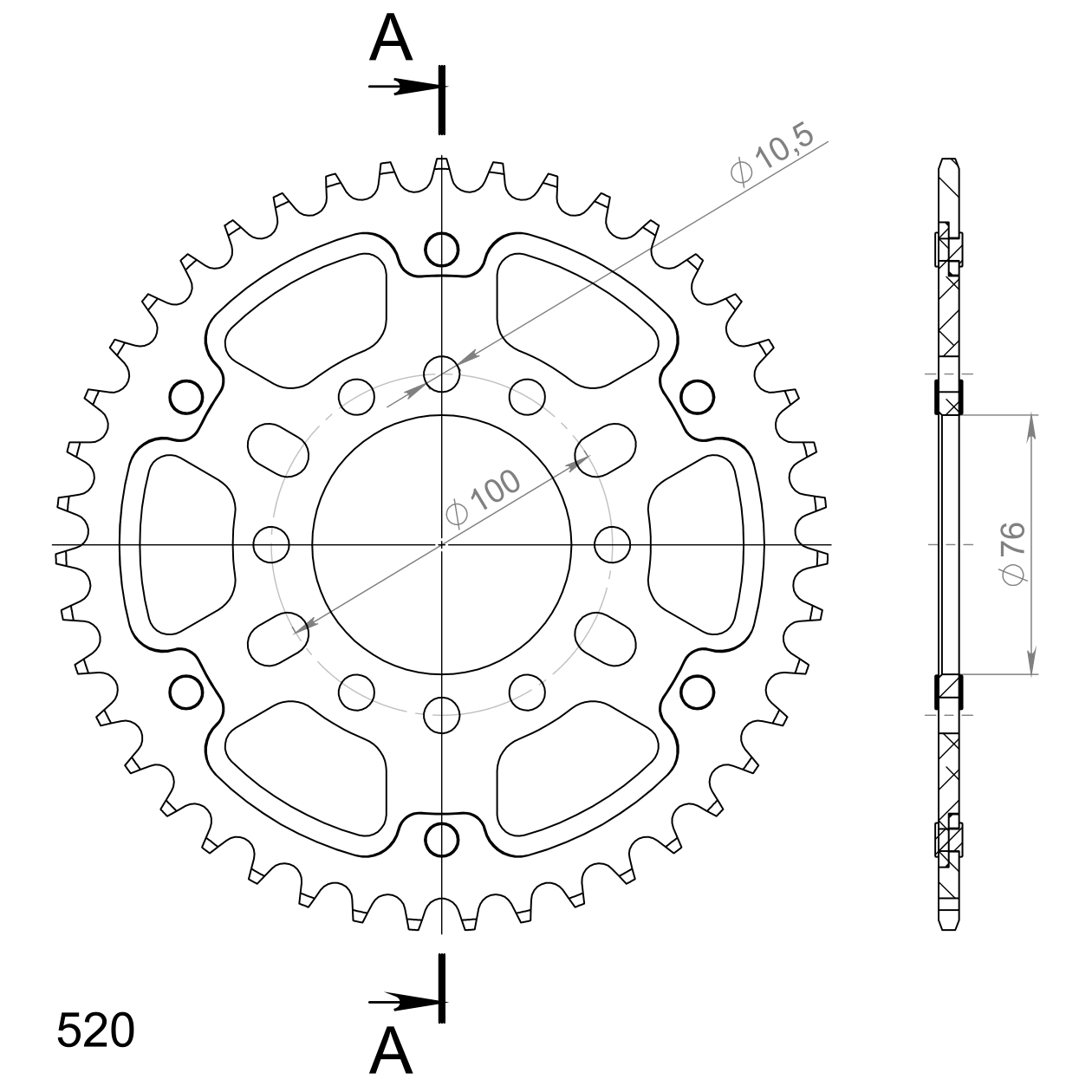 Stealth-Kettenrad Supersprox 520 - 43Z (gold)