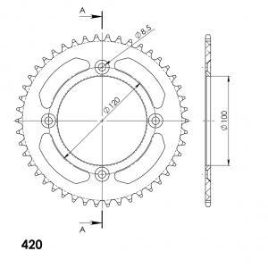 Alu-Kettenrad Supersprox 420 - 48Z (schwarz)